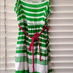 ZARA Green- & White-Striped Dress w/ Rope Belt